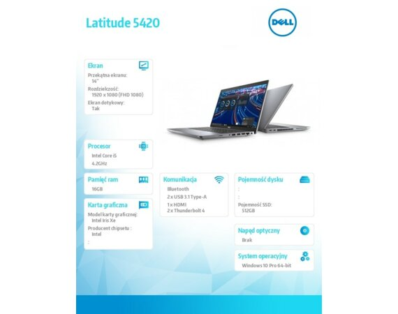 "Dell Latitude 5420 Win10Pro i5-1145G7/512GB/16GB/Intel Iris XE/14""FHD/Touch/4 Cell/KB-Backlit/WWAN/3Y BWOS"