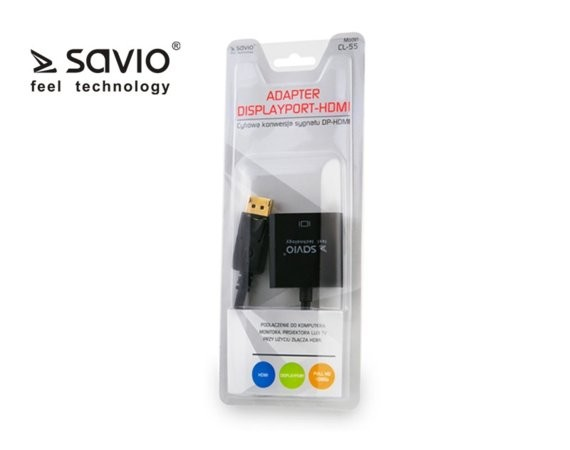 Elmak SAVIO CL-55 Adapter Displayport M - HDMI AF, blister