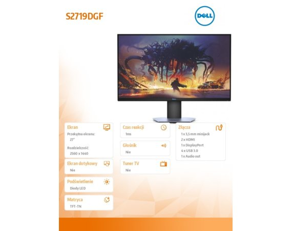 Dell Monitor S2719DGF 27 AMD FreeSync TN LCD QHD (2560x1440)/16:9/2xHDMI/DP/3Y PPG