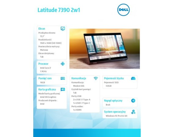 "Dell Latitude 7390 W10Pro i7-8650U/512GB/16GB/Intel UHD 620/13.3""FHD/Touch/KB-Backlit/4-cell/3Y NBD"