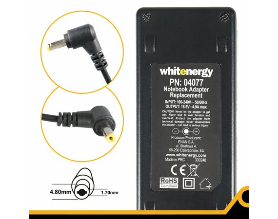 Whitenergy Zasilacz 18.5V | 4.9A 90W wtyk 4.8*1.7mm, Compaq  04077