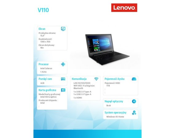 Lenovo Laptop V110-15IAP 80TG012YPB W10Home N3350/4GB/1000GB/INT/15.6/Black/2YRS CI