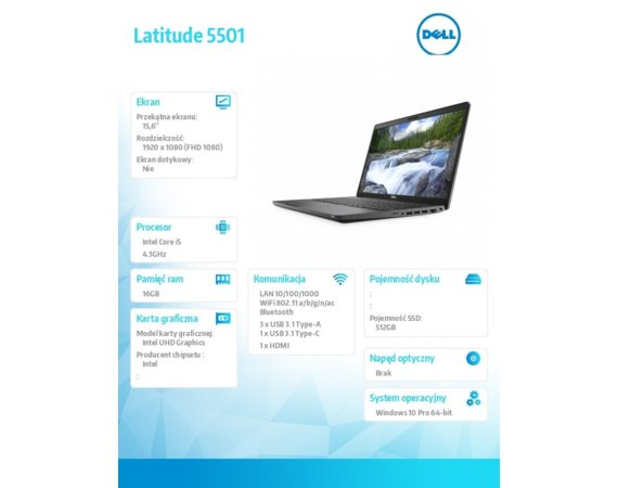 Dell Latitude 5501 Win10Pro i7-9850H/512GB/16GB/MX150/15.6 FHD/KB-Backlit/4-cell/3Y BWOS