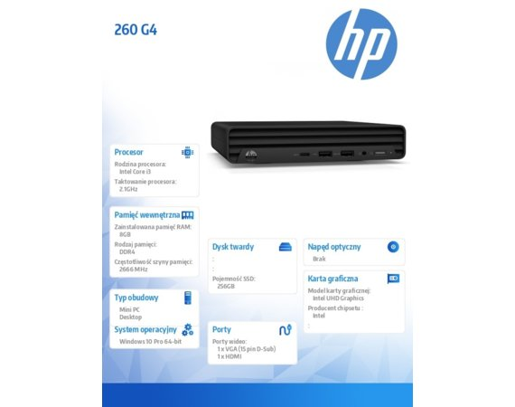 HP Inc. Desktop MiniPC 260 G4 i3-10110U 256/8GB/W10P 23H30EA