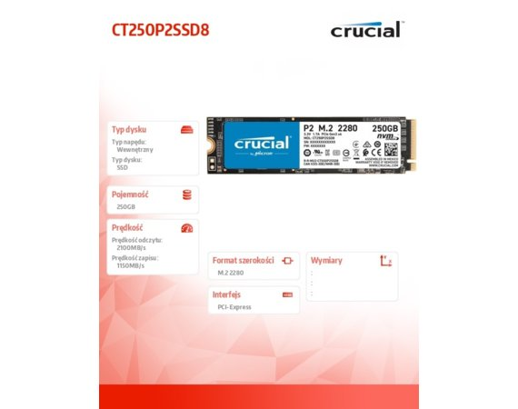 Crucial Dysk SSD P2 250GB M.2 PCIe NVMe 2280 2100/1150MB/s