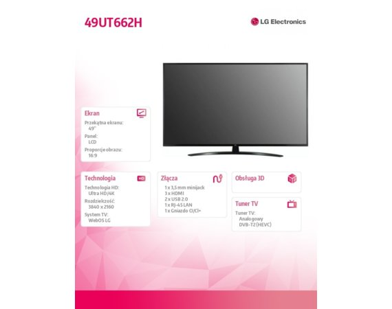 LG Electronics TV LED 49 cali HOTEL 49UT662H