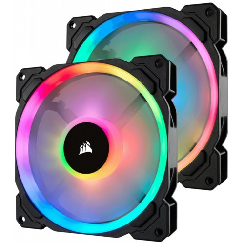 Corsair Fan LL140 RGB LED PWM 2 Fun Pack                        Dual Light Loop RGB LED PWN Fan - 2 Fan Pack with Lighting Node PRO