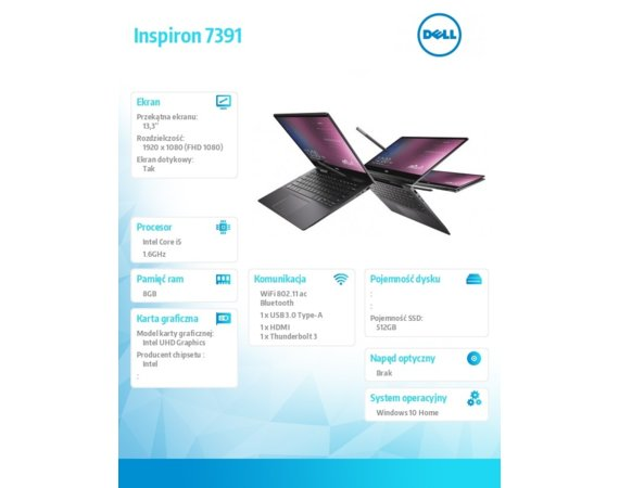 Dell Notebook Inspiron 7391 2in1 W10H i5-10210U/512/8/INT/Silver