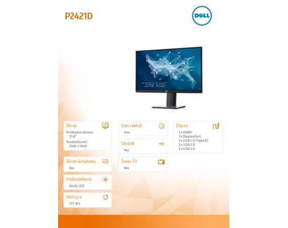 Dell Monitor P2421D 23.8'' IPS LED QHD (2560x1440) /16:9/HDMI(1.4)/DP(1.2)/5xUSB 3.0/5Y PPG