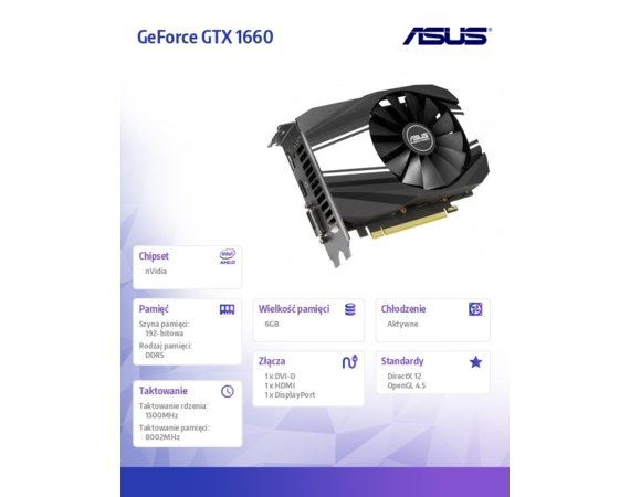 Asus Karta graficzna GeForce PH GTX 1660 6GB 192BIT GDDR5 DP/HDMI/DVI-D