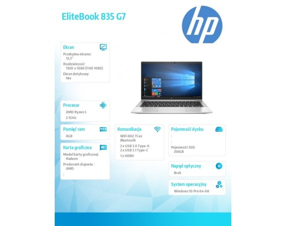 HP Inc. Notebook EliteBook 835 G7 R5-4650U W10P 256/8G/13,3      204M2EA
