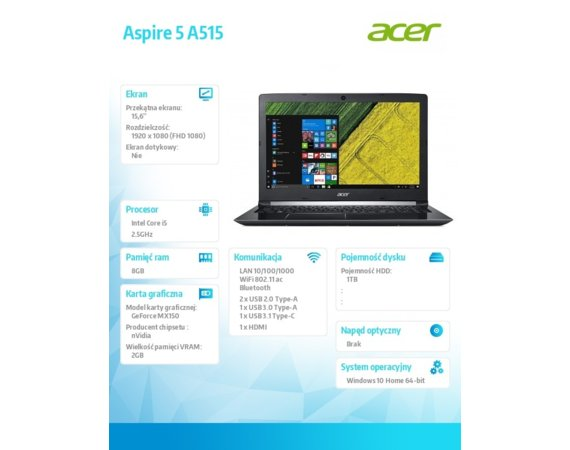 Acer Aspire 5 A515-51G-58GZ REPACK WIN10/i5-7200U/8GB/1T/MX150/15.6 FHD