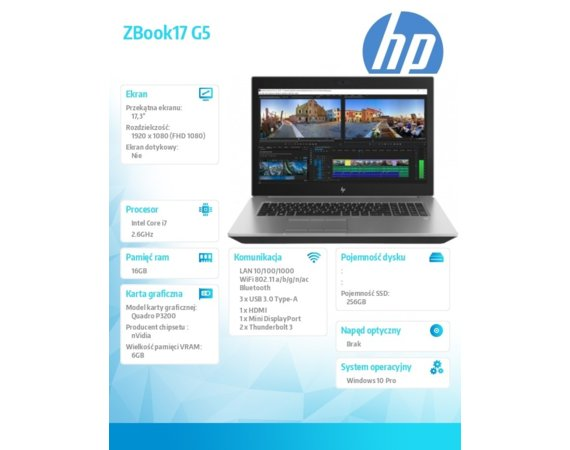 HP Inc. Laptop ZBook17 G5 i7-8850H 256/16/W10P/17,3 2ZC48E