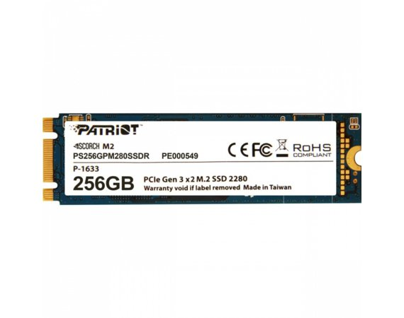 Patriot SSD Scorch 256GB M.2 2280 PCIE Read/Write (1700/780Mb/s)