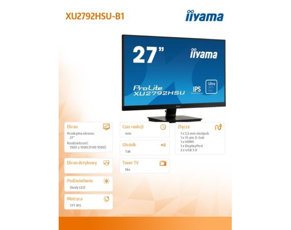IIYAMA Monitor 27 cali XU2792HSU-B1 IPS,Full HD,HDMI,DP,VGA,USB 3.0,SLIM