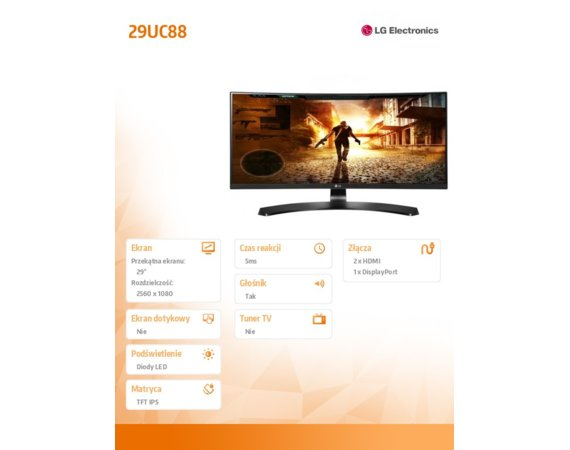 LG Electronics 29'' 29UC88-B IPS 21:9 Curved  2xHDMI/DP