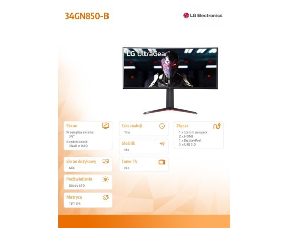 LG Electronics Monitor 34 cale 34GN850-B 21:9 NanoIPS Curved 160Hz(OC)