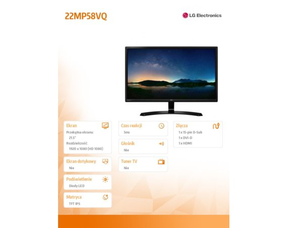 LG Electronics Monitor 21.5 22MP58VQ-P LED IPS HDMI/DVI/D-sub