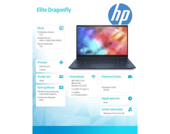 HP Inc. Notebook Elite Dragonfly W10P i5-8265U/512/16G 8MK76EA