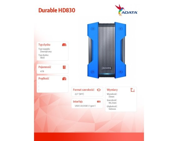 Adata Dysk twardy Durable HD830 4TB USB3.1 Blue