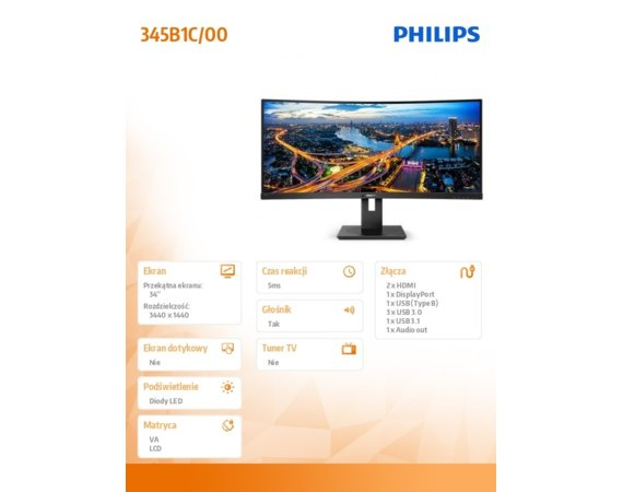 Philips Monitor 345B1C 34'' Curved VA HDMIx2 DPx2