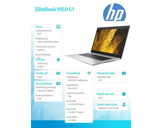 HP Inc. Laptop EliteBook 1050G1 i7-8750H W10P 1TB/16G/15,6     4QY38EA