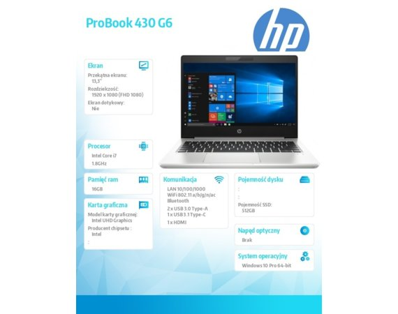 HP Inc. Notebook ProBook 430 G6 i7-8565U W10P 512/16G/13,3     5PQ78EA