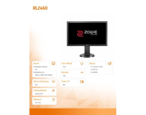 ZOWIE 24'' RL2460 LED 1ms/12MLN:1/HDMI/GAMING/DARK GRAY