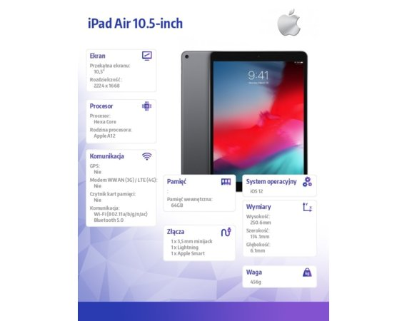 Apple iPad Air 10.5-inch Wi-Fi 64GB - Space Grey
