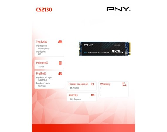 PNY Dysk SSD 500GB M.2 2280 CS2130 M280CS2130-500-RB