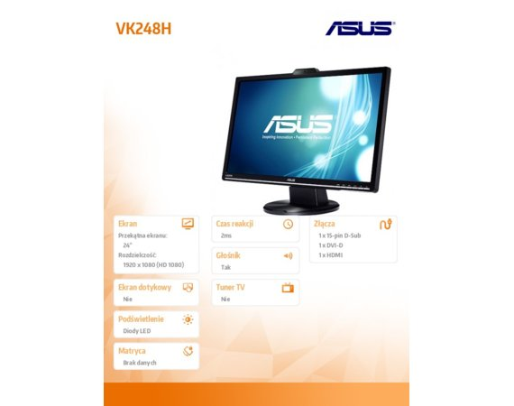 Asus Monitor 24 VK248H LED wide 2ms HDMI Cam glosniki