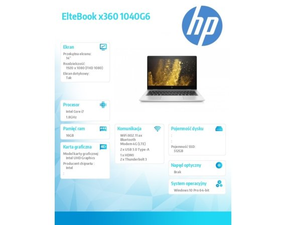 HP Inc. Notebook EliteBook x360 1040G6 i7-8565U 512/16G/14/W10P 7KN38EA