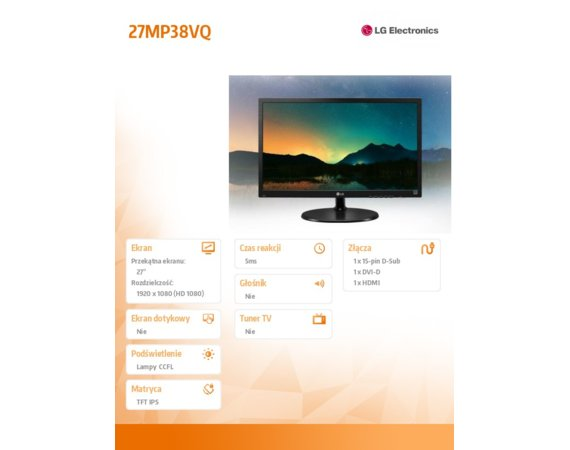LG Electronics 27'' 27MP38VQ-B  LED IPS HDMI/DVI