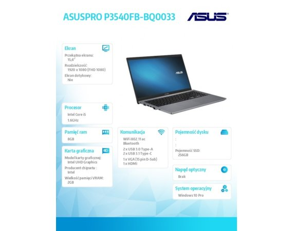 Asus Notebook P3540FB-BQ0033R W10PRO i5-8265U/8/256/MX110/15.6 Gwarancja: 2 Years on-site NBD