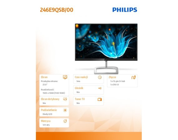 Philips Monitor 23.8 246E9QSB IPS DVI