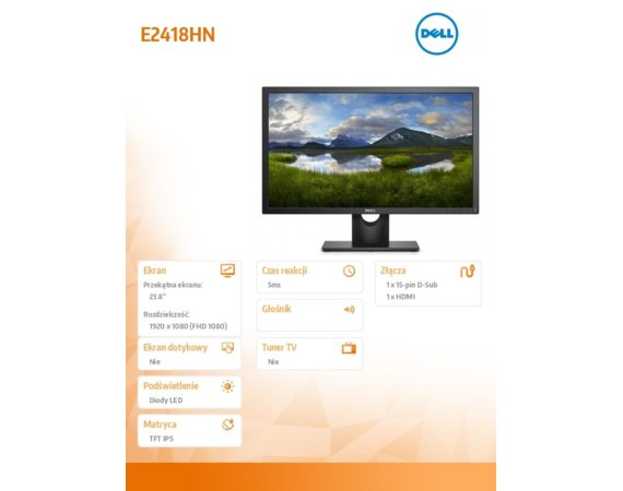 Dell Monitor 24 E2418HN IPS LED Full HD (1920x1080) /16:9/VGA/HDMI/5Y PPG