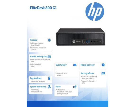 HP Inc. Komputer poleasingowy EliteDesk 800 G1 USDT  Intel Core i5-4570S CPU 2.90GHz 8GB SATA/SSD 128 Intel HD4600 Win7/8Pro COA