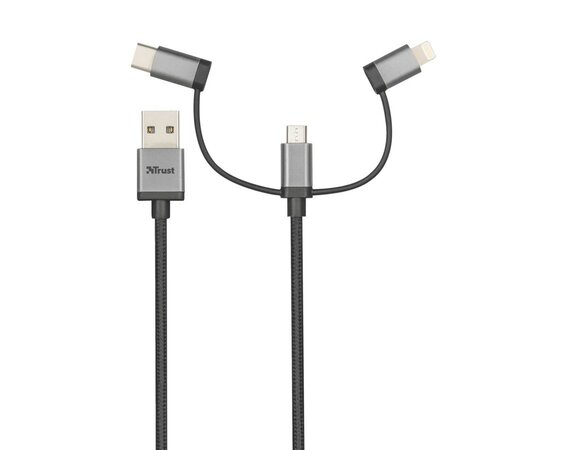 Trust 3-in-1 micro-USB USB-C Lightning kabel 480Mbps 1m