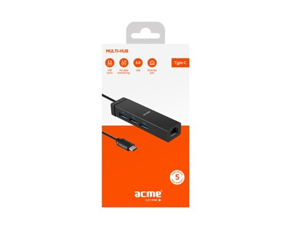 ACME Europe Koncentrator Multi-HUB USB 3.0 HB540 4 porty, RJ45, wtyk USB-C