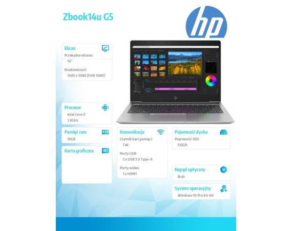 HP Inc. Laptop Zbook14u G5 i7-8550U 512/16G/W10P/14 2ZC34EA