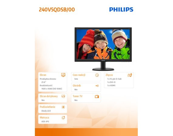 Philips Monitor 23.8 240V5QDSB IPS-ADS DVI HDMI Czarny