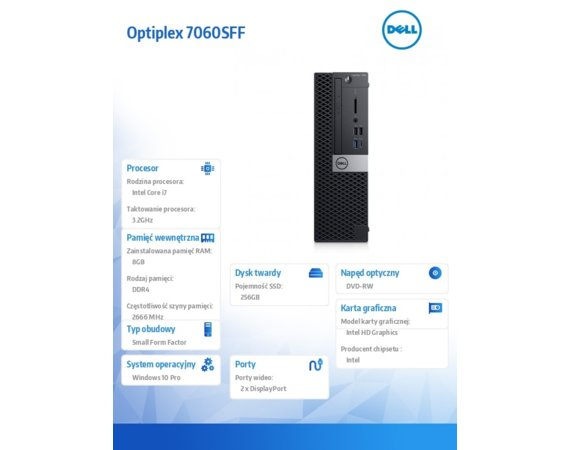 Dell Komputer Optiplex 7060SFF W10Pro i7-8700/8GB/256GB/Intel UHD 630/DVD RW/KB216/MS116/vPro/3Y NBD