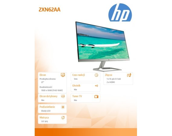 HP Inc. Monitor 27 27f 2XN62AA