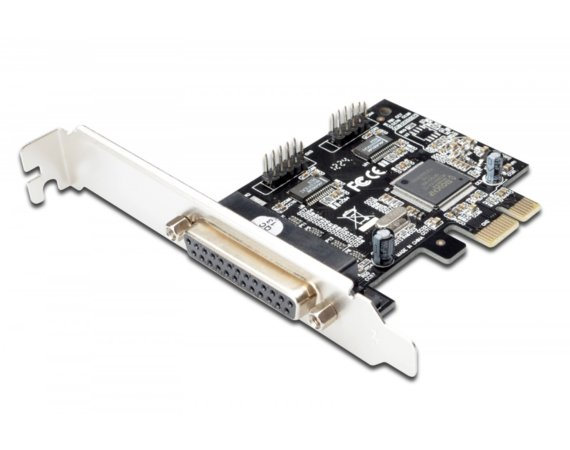 Digitus Karta rozszerzeń/Kontroler LPT/RS232 PCI Express, 1xDB25 2xDB9, Low Profile, Chipset: MCS9901