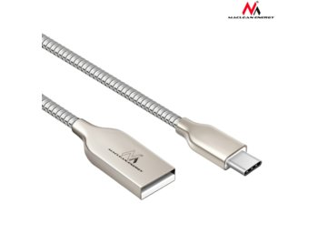 Maclean Kabel USB Type-C metalowy srebrny  MCE192 - Quick & Fast Charge