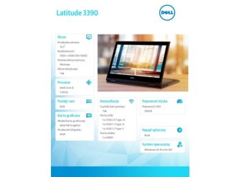 "Dell Latitude 3390 Win10Pro i5-8250U/256GB/8GB/Intel UHD 620/13.3""FHD/Touch/KB-Backlit/3 cell/3Y NBD"