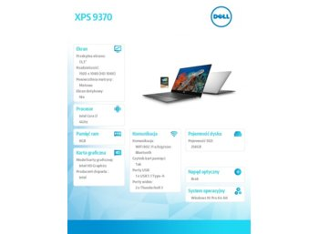 "Dell XPS 9370 Win10Pro i7-8550U/256GB/8GB/Intel HD/13.3"" FHD/KB-Backlit/Silver/2Y NBD"