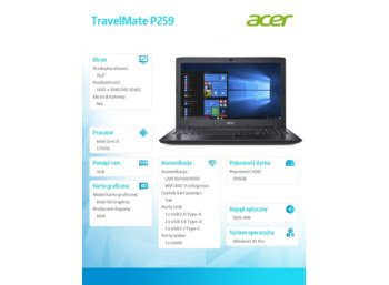 Acer TravelMate P259  WIN10 PRO i3-7130U/4GB/500HDD/IntHD 620/15.6'