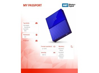 Western Digital MY PASSPORT 4TB 2,5' blue WDBYFT0040BBL-WESN