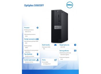 Dell Komputer Optiplex 5060SFF W10Pro i5-8500/8GB/1TB/Intel UHD 630/DVD RW/KB216/MS116/3Y NBD